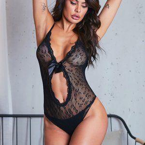 Sexy Intimate V-Neck Lace Teddy Bodysuit Lingerie